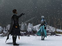 Winter warrior and Ice Queen. Warrior in black clothing encounters blue skinned ice queen in desolate winter setting during blizzard Stock Image