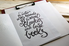Winter was made for warm blankets calligraphic background Stock Photo