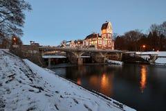 Winter-Wasserkraftwerk Stockfotografie