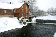 Winter water mill Stock Photo