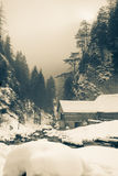 Winter water mill in Kvacany, bw Royalty Free Stock Photo