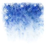 Winter watercolor background. Blue sky with falling snowflakes Stock Photo