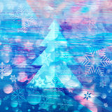 Winter watercolor background with Christmas tree Royalty Free Stock Images