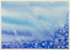 Winter watercolor background with falling snow splash texture. C Royalty Free Stock Photography