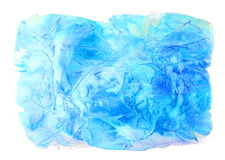 Winter watercolor background. Hand painted frozen frame with white copyspace. Frost texture. Royalty Free Stock Photo