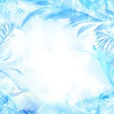 Winter watercolor background. Hand painted frozen frame with white copyspace. Frost texture. Stock Photo
