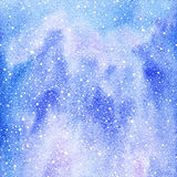 Winter watercolor background with snow splash texture. Royalty Free Stock Images