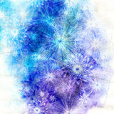 Winter watercolor background with snowflakes Stock Images