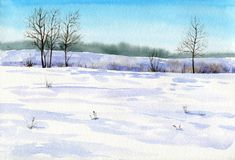 Winter watercolor background. With snow, sunlight, blue sky and trees Royalty Free Stock Photography