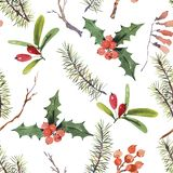 Winter watercolor Christmas seamless pattern with tree branches vector illustration