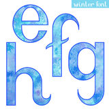 Winter watercolor font E,F,G,H Stock Photo