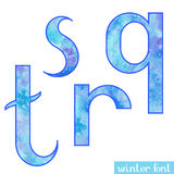 Winter watercolor font Q,R,S,T Royalty Free Stock Photography