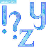 Winter watercolor font Y,Z and marks Stock Photography
