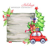 Winter watercolor greeting card, wooden frame with retro car, Christmas tree. Royalty Free Stock Images
