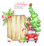 Winter watercolor greeting card, wooden frame with retro car, Christmas tree. Stock Photography