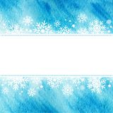 Winter watercolor illustration. grunge frame with snowflakes Royalty Free Stock Photo