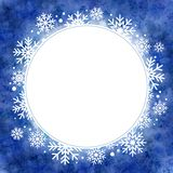 Winter watercolor illustration. round frame with snowflakes Stock Image
