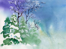 Winter. Watercolor Landscape Collection: Winter forest Royalty Free Stock Images