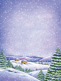 Winter Watercolor landscape. Winter watercolor illustration of a snowy landscape Royalty Free Stock Images