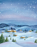 Winter Watercolor landscape Royalty Free Stock Image