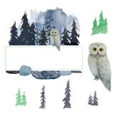 Winter watercolor owl in forest. Emerald frame. Logo. Winter watercolor owl in forest. Emerald frame and elements. Logo. Set royalty free illustration