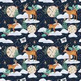 Winter watercolor seamless pattern with deers royalty free illustration