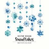Winter Watercolor Snowflakes. Elegant watercolor winter christmas snowflakes. Vector illustration Stock Images