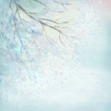 Winter Watercolor Tree Branches Stock Photos
