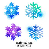 Winter Watercolour Snowflakes Stock Photography