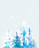 Winter Watercolourhintergrund Lizenzfreies Stockbild