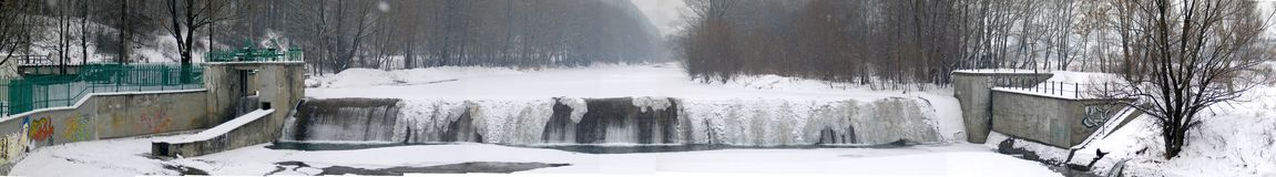 Winter waterfall. At beskidy - Poland Stock Photos
