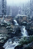 Winter waterfall. A waterfall in a winter forest Royalty Free Stock Photo