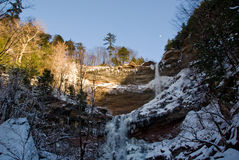 Winter Waterfall With Moon Stock Photo