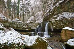Winter waterfall on a mountain Kaverze river Royalty Free Stock Photo