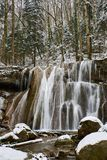 Winter waterfall on a mountain Kaverze river Stock Images