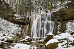 Winter waterfall on a mountain Kaverze river Royalty Free Stock Photos