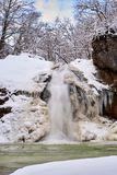 Winter waterfall on a mountain river, Rufabgo river Royalty Free Stock Images