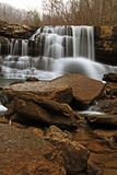 Winter Waterfall Part 2. Long exposure of the falls of Peters Creek in the mountains of southern West Virginia Stock Image