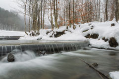 Winter waterfall photographed long exposure Royalty Free Stock Images