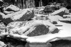 Winter waterfall in the Polish mountains. River and rocks covered with snow Royalty Free Stock Photos