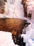 Winter waterfall and pond Stock Image