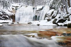 Winter waterfall.  Small pond and snowy boulders bellow cascade of waterfall. Crystal freeze water of mountain river and sounds. Stock Photos