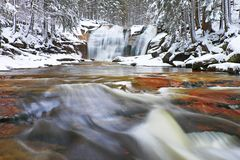 Winter waterfall. Small pond and snowy boulders bellow cascade of waterfall. Crystal freeze water of mountain river and sounds of Royalty Free Stock Photography