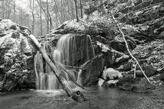 Winter waterfall after snowfall Royalty Free Stock Photo