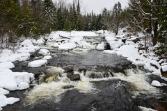 Winter waterfalls on Black River Royalty Free Stock Images