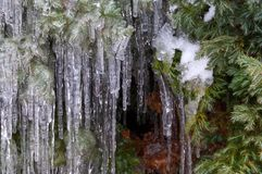 Winter waterfalls cover in the garden stock photography