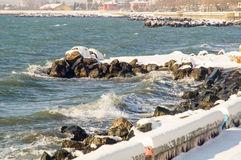 Winter waters of the Black Sea waterfront Pomorie, Bulgaria Stock Images