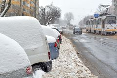 Winter Weather in Bucharest, Romania Royalty Free Stock Photography