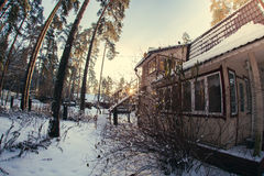 Winter  weather in forest. Sunny winter n weather in village Royalty Free Stock Photos
