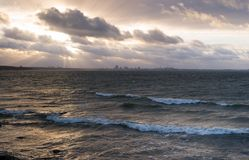 Stormy Sea - City of Tallinn at the Horizon stock images